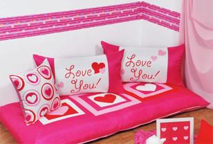 粉色桃心布艺家纺打造淑女浪漫风