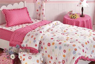 粉色儿童床品打造浪漫小公主卧室
