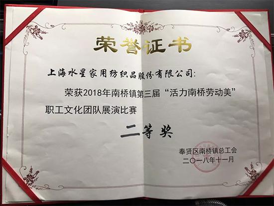 """水星家纺第三届""""活力南桥劳动美""""文化团队获二等奖"""