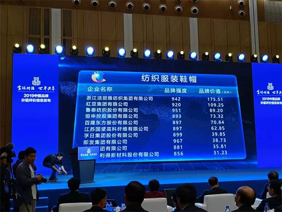 洁丽雅品牌连续六年蝉联中国家纺行业品牌价值前列